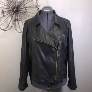 Eileen Fisher Waxed Short Moto Jacket Black XL